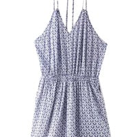 Blue Strappy Halter Tribe Pattern Backless Romper Playsuit