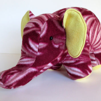 Esmerelda the Elephant, maroon, floral, yellow, fleece, pachyderm, stuffed animal, baby