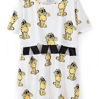 Woven Cutout Waist Cartoon Dress - OASAP.com