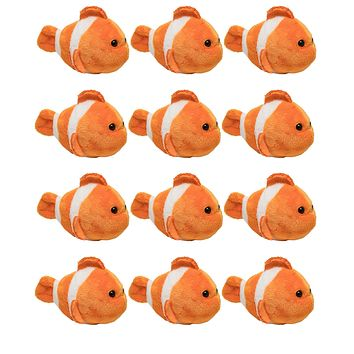 "12 Pack Clownfish Mini 4"" Small Stuffed Animals, Bulk Bundle Ocean Animal Toys, Sea Party Favors for Kids"