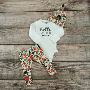 Baby/ Newborn Hello World Outfit/ Little Indian Girl Leggings and Knot Beanie or Knot Headband