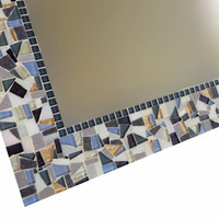 Mosaic Mirror, Decorative Wall Mirror, Gray White Blue Copper