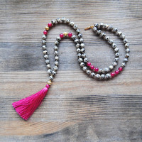 Tassel Necklace, dalmatian jasper beaded necklace, spotted necklace, mala pink tassel necklace