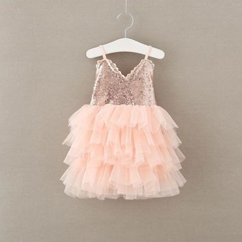 Flower Sequins Princess Toddler girls Dresses 2017 easter Party Girl tutu Dress kids clothing summer