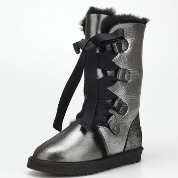 UGG Popular Winter Warm Women Men Fur Lace-Up Snow Boots Anti-Skid High Boots Grey Black