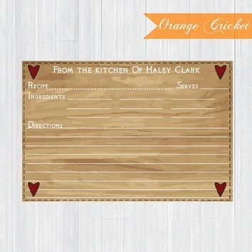 Wood Heart Texture Personalized Recipe Cards by OrangeCricket