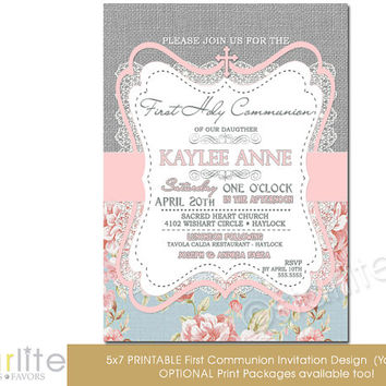 First Communion Invitation - Girl - burlap lace pink blue floral - 5x7 vintage style, typography, - unique communion invitation - You Print