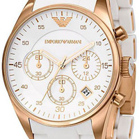 Armani Rose Gold Tone Stainless Steel Case White Dial Watch AR5920