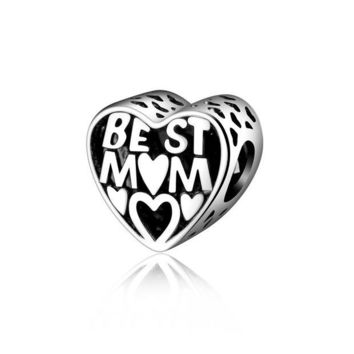 LMF8UH Mother Gift 925 Sterling Silver Jewelry BEST MOTHER Charms Pandora Bracelet for Women Fine Jewelry Accessories Bead