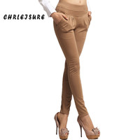 S-3XL Casual Women Pencil Plus Size Spandex Pants Elastic Slim Harem Pants Thicken Velvet Office OL Pocket Harem Pants Women