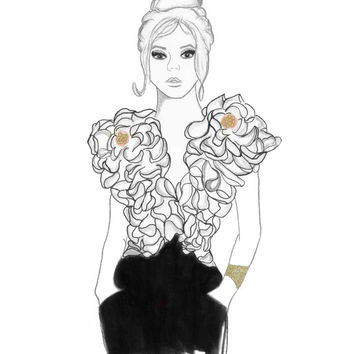 For the Love of Ruffles - Print from original mixed media fashion illustration by Lexi Rajkowski