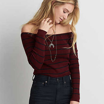 AEO Off-The-Shoulder Ribbed Sweater, Burgundy