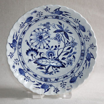 Blue Lily Serving Bowl / Staffordshire England