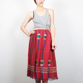 Vintage Red Embroidered Midi Skirt Ethnic Skirt FRINGE Trim Skirt Knee Length Boho Festival Indian Skirt Hippie Skirt S M Medium L Large