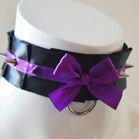 Kittenplay collar - Purple thorn - kitten play BDSM proof gothic choker with spikes - black - ddlg dark goth princess sexy daddy kink gear