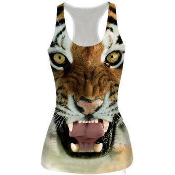 Womens 3D Tiger Slim Tank Top Sports Vest for Summer