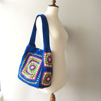 Crochet Tote Bag, Blue Bag