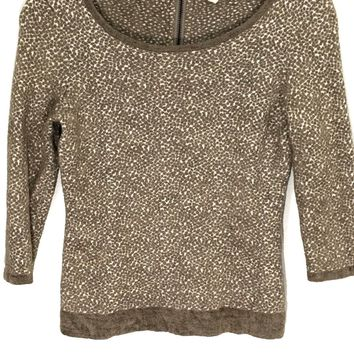 Moth Anthropologie Leopard Print Sweater Shirt Back Zip Soft Textured Womens XS - Preowned