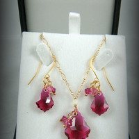 Pink Crystal Necklace - Elegant Fuchsia Baroque Crystal Pendant Necklace & Earrings Set - 14k Gold Filled Chain