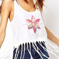 Sexy European Street-chic Style Floral Print Fringed Vest from shopgirl8