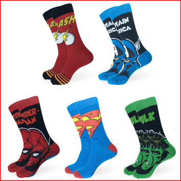Men Women Marvel Comics Cotton Socks Avenger Captain America Superman Spiderman Hulk Flash Cartoon Hero Odd Future Funny Socks