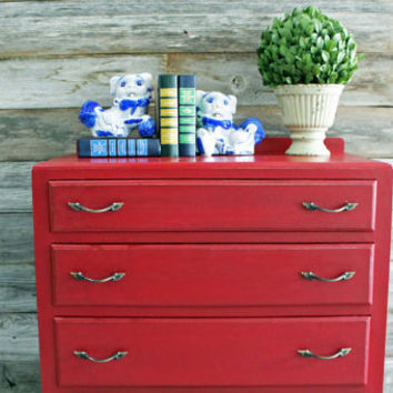 SALE Vintage Rustic Farmhouse Painted Red Queen Anne Dresser Chest of Drawers Four Drawers