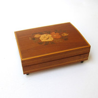 Vintage mid century Mapsa wood inlay swiss music box Lara's theme