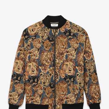 SAINT LAURENT OVERSIZED TEDDY JACKET IN BLUE, BEIGE AND BLACK WILDCAT WOVEN POLYESTER AND COTTON | YSL.COM