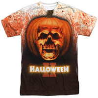 HALLOWEEN II/PUMPKIN SKULL - S/S ADULT 100% POLY CREW - WHITE - XL - White -