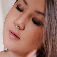 Beautiful Detailed Brass Septum For Non Pierced Nose - Septum Jewelry - Indian Nose Ring - Ethnic Septum - Septum Piercing