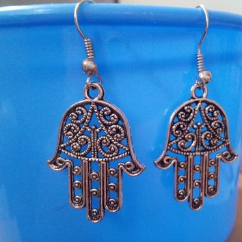 """40Pairs Ancient Silver Plated""""Intricut Hamsa Hands""""Charms Dangle Women Earrings Drop Earrings Vintage Jewelry Making DIY"""