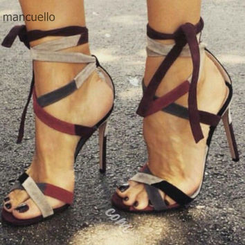 Sexy Cross-Strap Suede Dress Shoes Women Stylish Color Block High Heels Lace Up Open Toes Stiletto Sandals Best Selling ThisYear