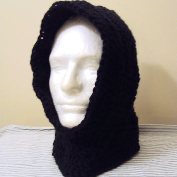Mens Hoodie Crochet Hooded Cowl Scarf Scoodie Black Gamer Hood Ski Winter Earwarmer Snowboard Hat Neckwarmer Child and Adult Size
