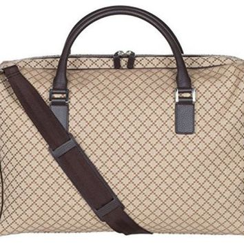 ICIK8BW Gucci Beige GG Diamante Canvas Leather Duffle Carry On Large Travel Shoulder Bag