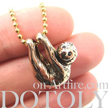 Sloth Baby Animal Pendant Necklace Realistic and Cute in Shiny Gold