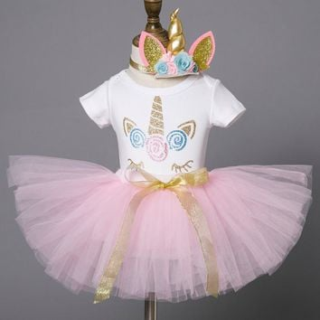 Pink My Baby Girl Clothing First 1st Birthday Party Infant Dresses Cake Smash Outfits Unicorn Dress for Girl Christening Gown