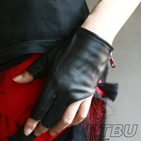 Genuine Leather Lambskin Sheepskin Punk Rocker Biker Dancer Fingerless Zip Glove