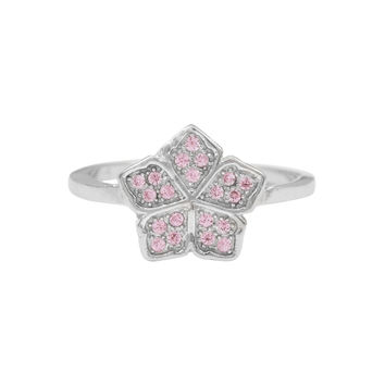 Rhodium Plated Sterling Silver, Pink CZ Flower Ring