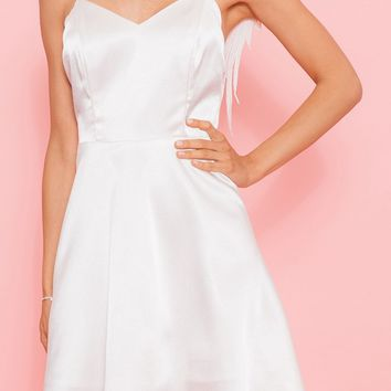I'm Your Juliette White Sleeveless Spaghetti Strap V Neck Angel Wing A Line Mini Dress