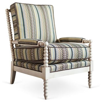 Taylor Burke Home, Gregg Lounge Chair, Cream/Multi, Accent & Occasional Chairs