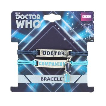 Licensed cool BBC DR Doctor Who Tardis Companion Name Plate Pendant Cord 2 BFF Bracelet Set