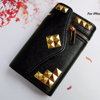 ZIPPER Pocket Credit Card Holder Magnetic Wallet Flip Deluxe Leather 3D Metal Studded Trim Russian Puzzle Case Cover for iPhone 5 5G Black