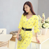 Yellow V-Neck Printed Jumpsuit