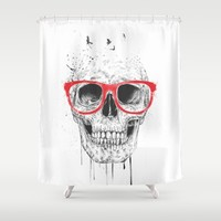 Skull with red glasses Shower Curtain by Balazs Solti