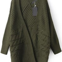 Army Green Knit Loose Fitting Cardigan
