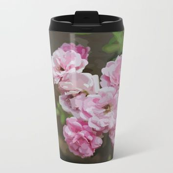 Romantic and Floral Metal Travel Mug by Paula Oliveira