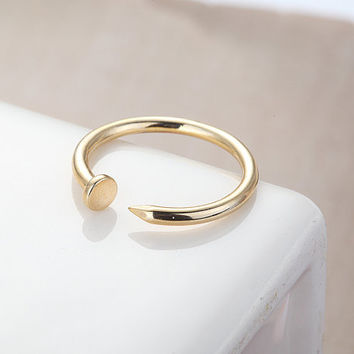 Adjustable Nail Ring  Gold // R0019GD // Adjustable by queenspark