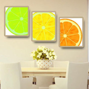 Kitchen Art Lime Lemon Orange Citrus Set of 3 Print Home Decor Wall Art KA14004-5-6
