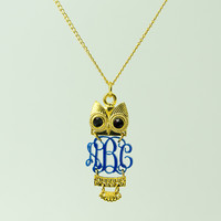 Gold plated Owl Monogrammed Necklace - Monogram with Owl Pendant