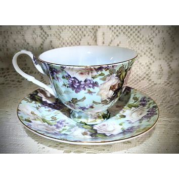 White Roses and Lilacs Chintz Porcelain Teacup and Saucer - Only 4 Available